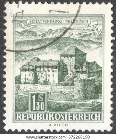 "MOSCOW, RUSSIA - CIRCA JANUARY, 2016: a post stamp printed in AUSTRIA shows Schatten Castle, Feldkirch, Vorarlberg, the series ""Architectural Monuments in Austria"", circa 1967"