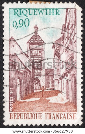 "MOSCOW, RUSSIA - CIRCA JANUARY, 2016: a post stamp printed in FRANCE shows a  view of Dolder Tower, Riquewihr, the series ""Tourist Publicity"", circa 1971 - stock photo"