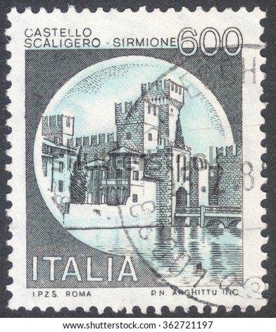 "MOSCOW, RUSSIA - CIRCA JANUARY, 2016: a post stamp printed in ITALY shows a view on a castle Sirmione, the series ""Castles"", circa 1980"