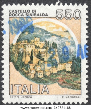 "MOSCOW, RUSSIA - CIRCA JANUARY, 2016: a post stamp printed in ITALY shows a view on a castle Rocca Sinibalda, the series ""Castles"", circa 1980"