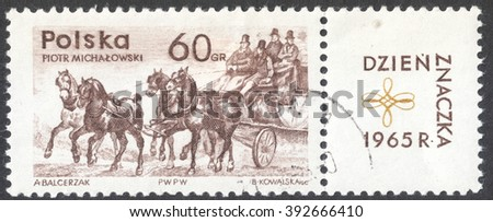 """MOSCOW, RUSSIA - CIRCA JANUARY, 2016: a post stamp printed in POLAND shows a stage mail coach, the series """"The day of the stamp 1965"""", circa 1965 - stock photo"""