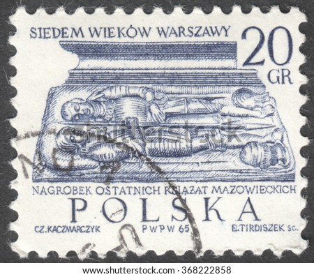 "MOSCOW, RUSSIA - CIRCA JANUARY, 2016: a post stamp printed in POLAND shows a tombstone of Dukes of Mazovia, the series ""Warsaw - 7 Centuries. The 700th Anniversary of Warsaw"", circa 1965 - stock photo"