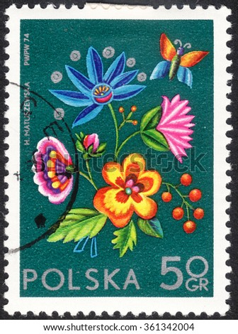 """MOSCOW, RUSSIA - CIRCA JANUARY, 2016: a post stamp printed in POLAND shows an embroidery, the series """"International Philatelic Exhibition Socphilex IV in Katowice - Flowers"""", circa 1974 - stock photo"""
