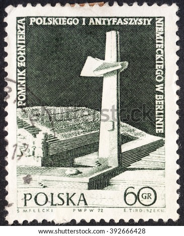 MOSCOW, RUSSIA - CIRCA JANUARY, 2016: a post stamp printed in POLAND shows Anti-fascist monument in Berlin, devoted to the 27th anniversary of the end of World War II, crca 1972 - stock photo