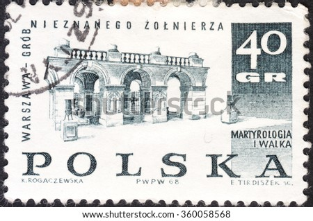 "MOSCOW, RUSSIA - CIRCA JANUARY, 2016: a post stamp printed in POLAND showsTomb of Unknown Soldier, Warsaw, the series ""Memorials for the Sacrifices of World War II"", circa 1968 - stock photo"