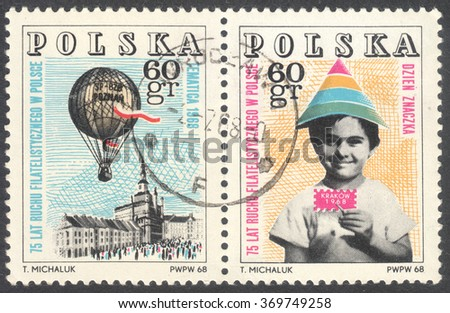"""MOSCOW, RUSSIA - CIRCA JANUARY, 2016: a post stamp printed in POLAND, the series """"Philatelic Society in Poland"""", circa 1968 - stock photo"""