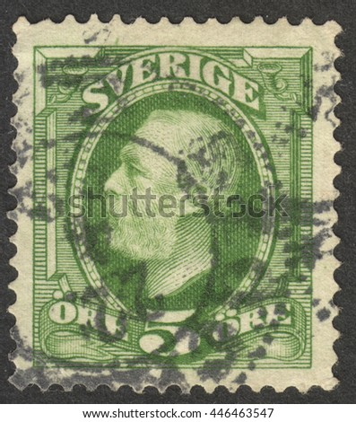 "MOSCOW, RUSSIA - CIRCA JULY, 2016: a post stamp printed in SWEDEN shows a portrait of King Oscar II, the series ""King Oscar II"", circa 1891 -1903"