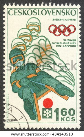 "MOSCOW, RUSSIA - CIRCA JUNE, 2016: a post stamp printed in CZECHOSLOVAKIA shows Bobsleighing, the series ""Winter Olympic Games - Sapporo, Japan"", circa 1972 - stock photo"