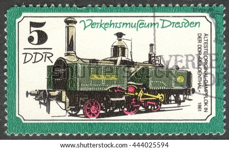 "MOSCOW, RUSSIA - CIRCA JUNE, 2016: a post stamp printed in DDR shows a Steam locomotive ""Muldenthal"", the series ""Transportation - Dresden Traffic Museum"", circa 1977 - stock photo"