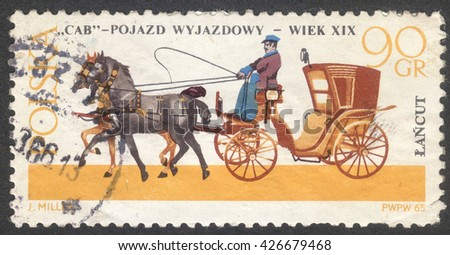 """MOSCOW, RUSSIA - CIRCA MAY, 2016: a post stamp printed in POLAND shows a Cab coach, the series """"Horse-drawn Carriages, Lancut Museum"""", circa 1965 - stock photo"""