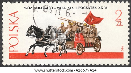 "MOSCOW, RUSSIA - CIRCA MAY, 2016: a post stamp printed in POLAND shows a Horse-drawn Fire Engine, the series ""Horse-drawn Vehicles"", circa 1980 - stock photo"