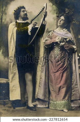 MOSCOW, RUSSIA, -  CIRCA 1900s: Antique photo, portrait of a two actors as Orpheus and Eurydice. - stock photo