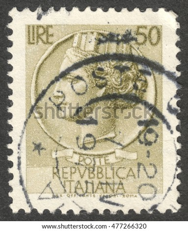 "MOSCOW, RUSSIA - CIRCA SEPTEMBER, 2016: a post stamp printed in ITALY shows an ancient coin of Syracuse, the series ""Syracusean Coin"", circa 1968"