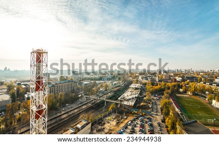 Moscow, Russia. cityscape with aerial view - stock photo