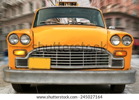 Moscow, Russia dacbr 10, 2014: Taxi, Checker Taxi was an American taxi company. It used the Checker Marathon produced by the Checker Motors Corporation of Kalamazoo, Michigan. - stock photo