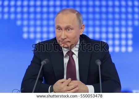 MOSCOW, RUSSIA - DEC 23, 2016: The President of the Russian Federation Vladimir Vladimirovich Putin annual press conference in Center of international trade