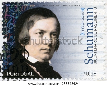 MOSCOW, RUSSIA - DECEMBER 30, 2015: A stamp printed in Portugal shows Robert Schumann (1840-1893), composer and virtuoso pianist, 2010 - stock photo
