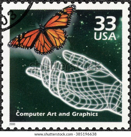 MOSCOW, RUSSIA - DECEMBER 28, 2015: A stamp printed in USA shows Hand and butterfly, computer generated art, series Celebrate the Century, 1990s, 2000 - stock photo
