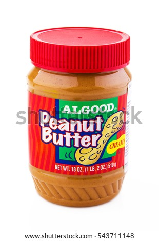 MOSCOW, RUSSIA- DECEMBER 27, 2016: Algood Peanut Butter. Algood Food Company is recognized throughout the United States as one of the premier packers of private label peanut butter.