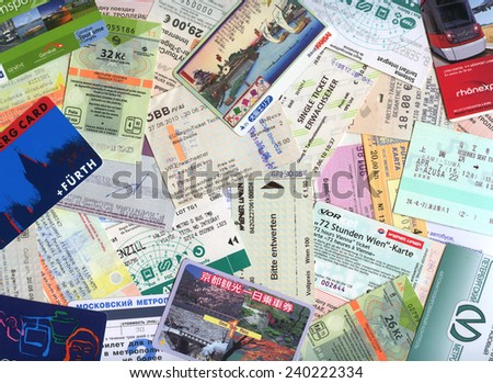 MOSCOW, RUSSIA - DECEMBER 28, 2014: Background of city public transport tickets of different countries  - stock photo