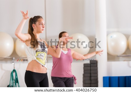 MOSCOW, RUSSIA - December 13, 2012 - Dance class for women at fitness centre - stock photo