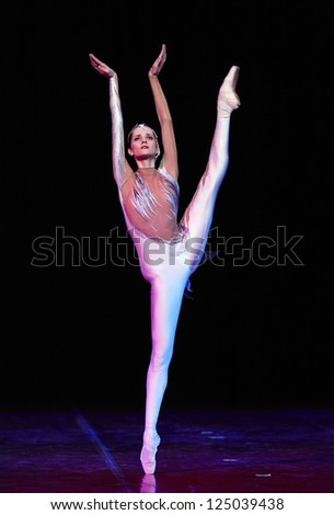 MOSCOW, RUSSIA - DECEMBER 08: Dancer on Charity concert in Nations Theater in Moscow, Russia, December 08, 2012 - stock photo