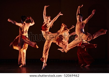 MOSCOW, RUSSIA - DECEMBER 11: Parsons Dance dancers carry out show during its Russia  tour. December 11, 2009 in Moscow, Russia. - stock photo