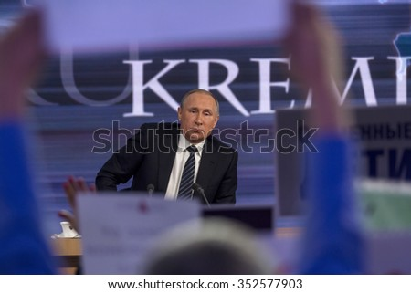 MOSCOW, RUSSIA - DECEMBER 17, 2015: Russian President Vladimir Putin at his 11th annual media question-and-answer session in the World Trade Center on Krasnaya Presnya in Moscow, Russia