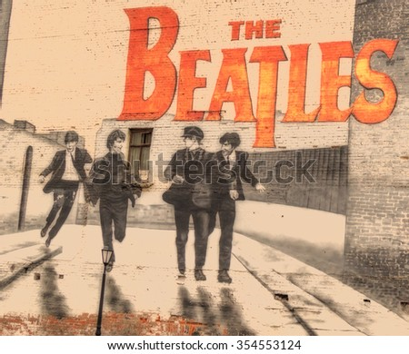 MOSCOW, RUSSIA - DECEMBER 5, 2015: The Beatles graffiti on the wall in Moscow. Mytnaya street. FILTER: DUPLEX EFEX. - stock photo