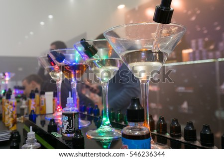 Moscow, Russia - December 9, 2016: Vapexpo Moscow 2016 exhibition which presents new modern vape gadgets, liquids and flawours