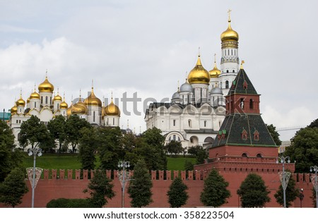 Moscow, Russia.domes of churches rise above the ramparts of the Kremlin - stock photo