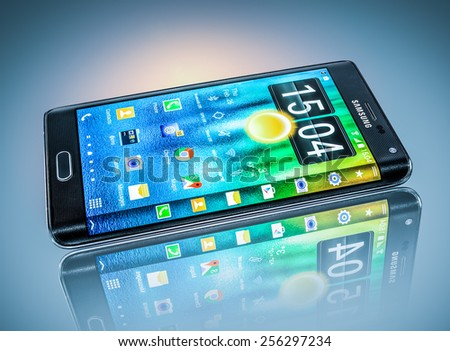 MOSCOW, RUSSIA- Feb 26, 2014: Samsung Galaxy Note Edge.World's first smartphone it is distinguished by a display that curves across the right side of the device.Illustrative editorial only. - stock photo