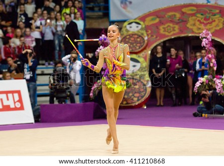 MOSCOW, RUSSIA - FEBRUARY 20, 2016: A. Averina, Russia, clubs, on Rhythmic gymnastics Alina Cup Grand Prix Moscow - 2016 on February 20, 2016, in Moscow, Russia - stock photo