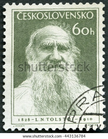 MOSCOW, RUSSIA - FEBRUARY 13, 2016: A stamp printed in Czechoslovakia shows Russian writer Lev Leo Nikolayevich Tolstoi (1828-1910), Novelist and Philosopher, 125th birth anniversary, 1953  - stock photo