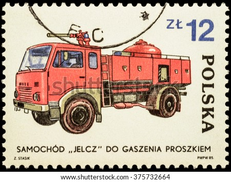 "MOSCOW, RUSSIA - FEBRUARY 12, 2016: A stamp printed in Poland shows polish fire engine Jelcz, series ""Development of the Fire Brigade"", circa 1985"