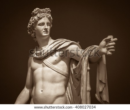 Moscow, Russia - February 16, 2016: Apollo Belvedere statue in Pushkin Museum