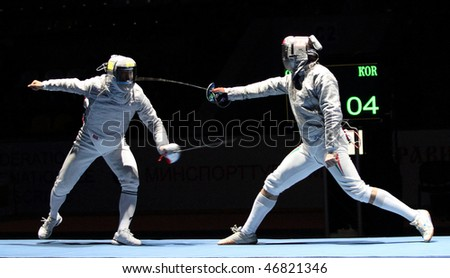 MOSCOW, RUSSIA - FEBRUARY 13: Duel for Cup Grand Prix event, Eun S.Oh (KOR) and Zsolt Nemcsik (HUN) compete at the 2010 RFF Moscow Saber World Fencing Tournament, February 13, 2010 in Moscow, Russia.
