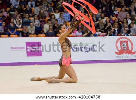 MOSCOW, RUSSIA - FEBRUARY 20, 2016: Monica Mickova, Czech Republic, ribbon, on Rhythmic gymnastics Alina Cup Grand Prix Moscow - 2016 on February 20, 2016, in Moscow, Russia - stock photo