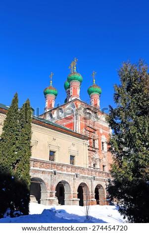 MOSCOW, RUSSIA - FEBRUARY 10, 2015: Sergius church in Vysokopetrovsky Monastery - stock photo