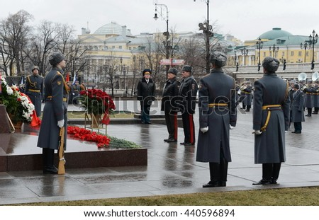 MOSCOW, RUSSIA - FEBRUARY 23, 2014:The ceremony of laying flowers and wreaths at the monument to Marshal Georgy Zhukov during the celebration of defender of the Fatherland Day.