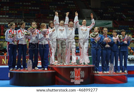 MOSCOW, RUSSIA - FEBRUARY 16: Women's national teams of Russia, France and Ukraine finalists at the 2010 RFF Moscow Saber World Fencing Tournament, February 16, 2010 in Moscow, Russia. - stock photo
