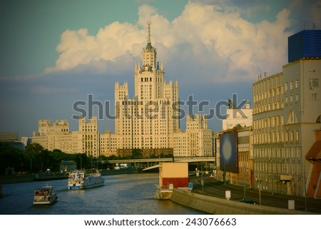 Moscow, Russia, House on Kotelinicheskaya quay, high-altitude building, skyscraper 1952, instagram image style