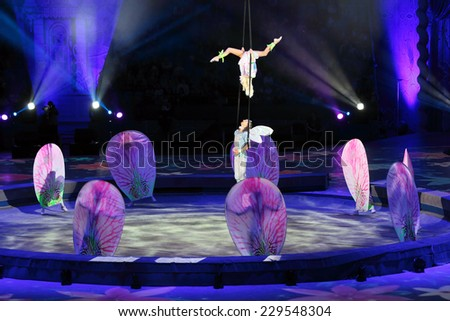 "MOSCOW, RUSSIA - JAN 06, 2013: Children's new year performance ""Circus Santa Claus II - Olympic New Year"" in Olympic Stadium (sport complex) - stock photo"