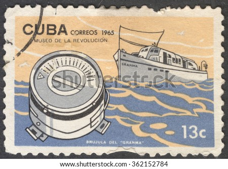 """MOSCOW, RUSSIA - JANUARY, 2015: a post stamp printed in CUBA shows a compass Granma, the series """"Museum of the Revolution"""", circa 1965 - stock photo"""
