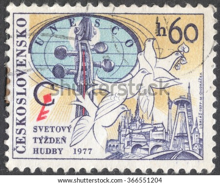 MOSCOW, RUSSIA - JANUARY, 2016: a post stamp printed in CZECHOSLOVAKIA devoted to the Congress of UNESCO International Music Council, circa 1977 - stock photo