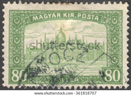"MOSCOW, RUSSIA - JANUARY, 2016: a post stamp printed in HUNGARY shows the Parliament Building in Budapest with the inscription ""Magyar Kir.Posta"", the series ""Parliament, Budapest"", circa 1917-1919"
