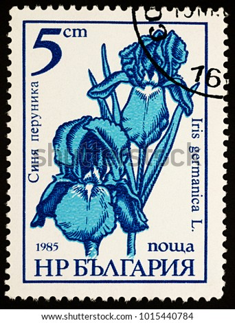 "Moscow, Russia - January 22, 2018: A stamp printed in Bulgaria shows flowers Iris germanica, series ""Garden flowers"", circa 1985"