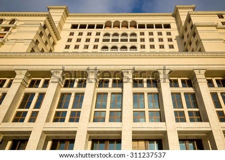 MOSCOW, RUSSIA - January 01.2010: Restored facade of the known hotel Moscow in the center of cit