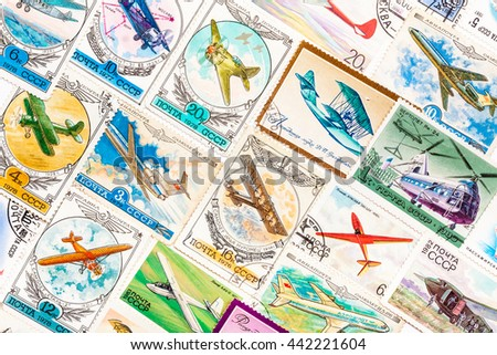 "MOSCOW, RUSSIA - JANUARY 8, 2014: Stamps printed in the USSR, united by one theme - ""The Soviet Air Force, Russian planes"""
