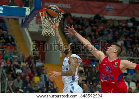 MOSCOW, RUSSIA - JANUARY 27, 2017: T. Honeycutt (2) at a basketball game CSKA vs Anadolu Efes on Regular championship of Euroleague on January 27, 2017, in Moscow, Russia. CSKA won 80:77